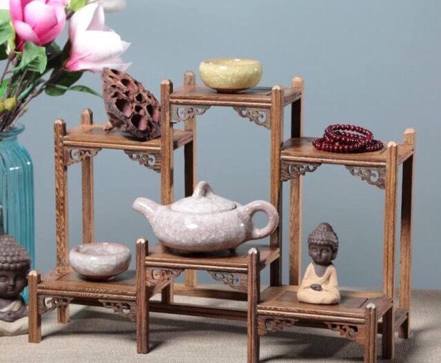 Kệ gỗ trang trí ( gỗ cánh gà) kê vật phong thuỷ v.v kê bộ ấm trà mini