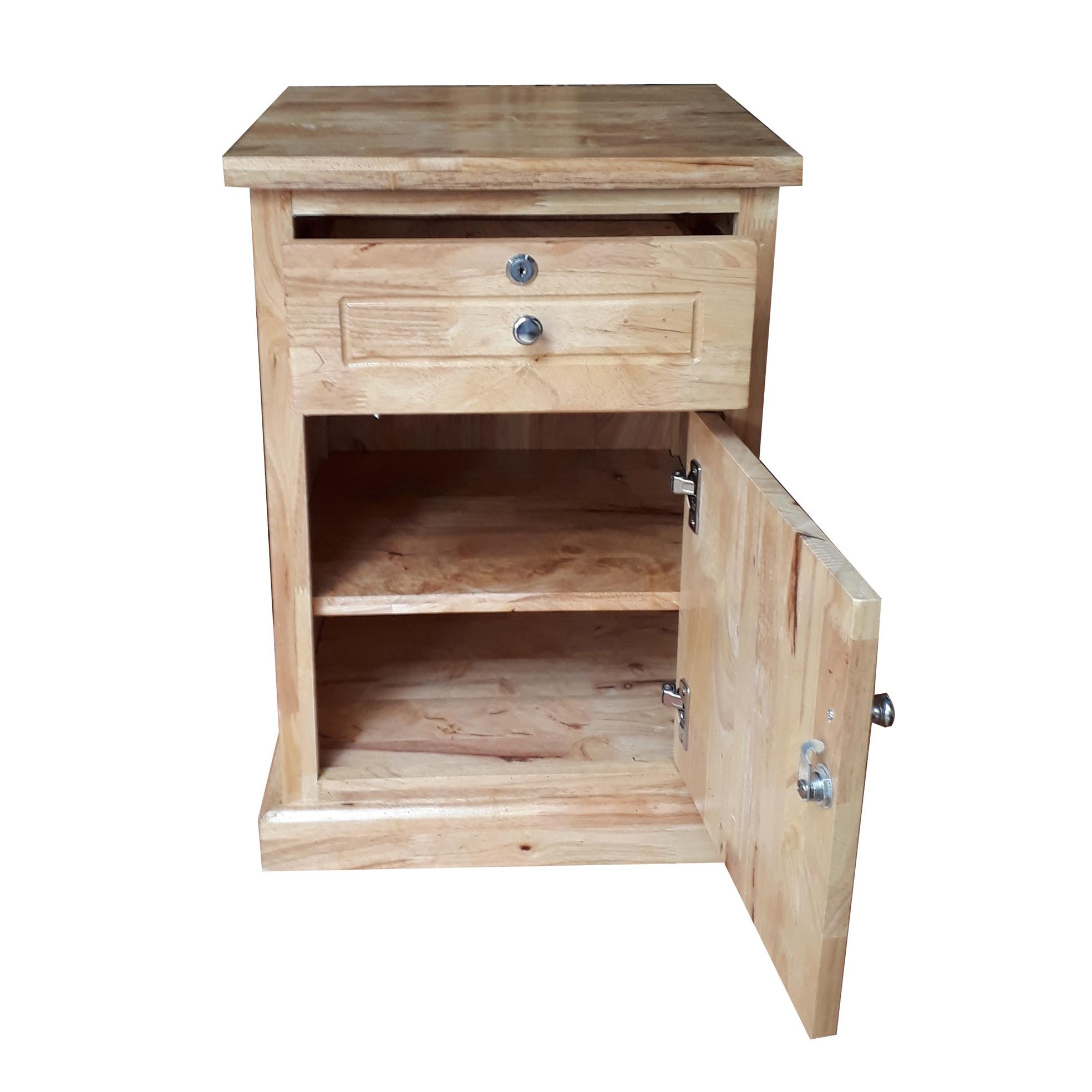 Tủ đầu giường gỗ cao su 1 hộc tủ 1 cánh cửa