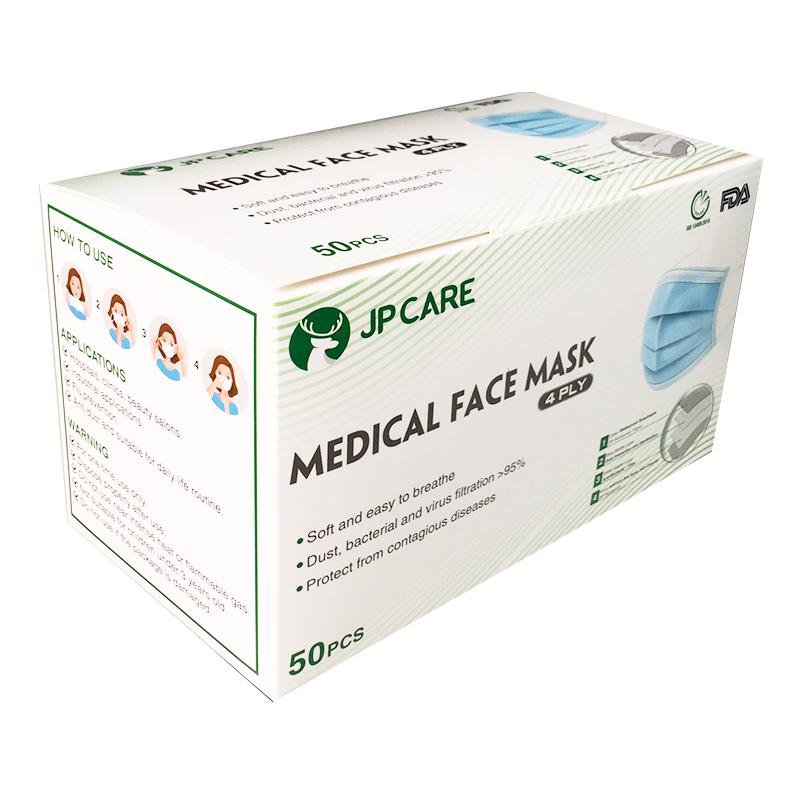 Khẩu trang JP CARE kháng khuẩn 4 lớp hộp 50 cái màu xanh (giấy kháng khuẩn)