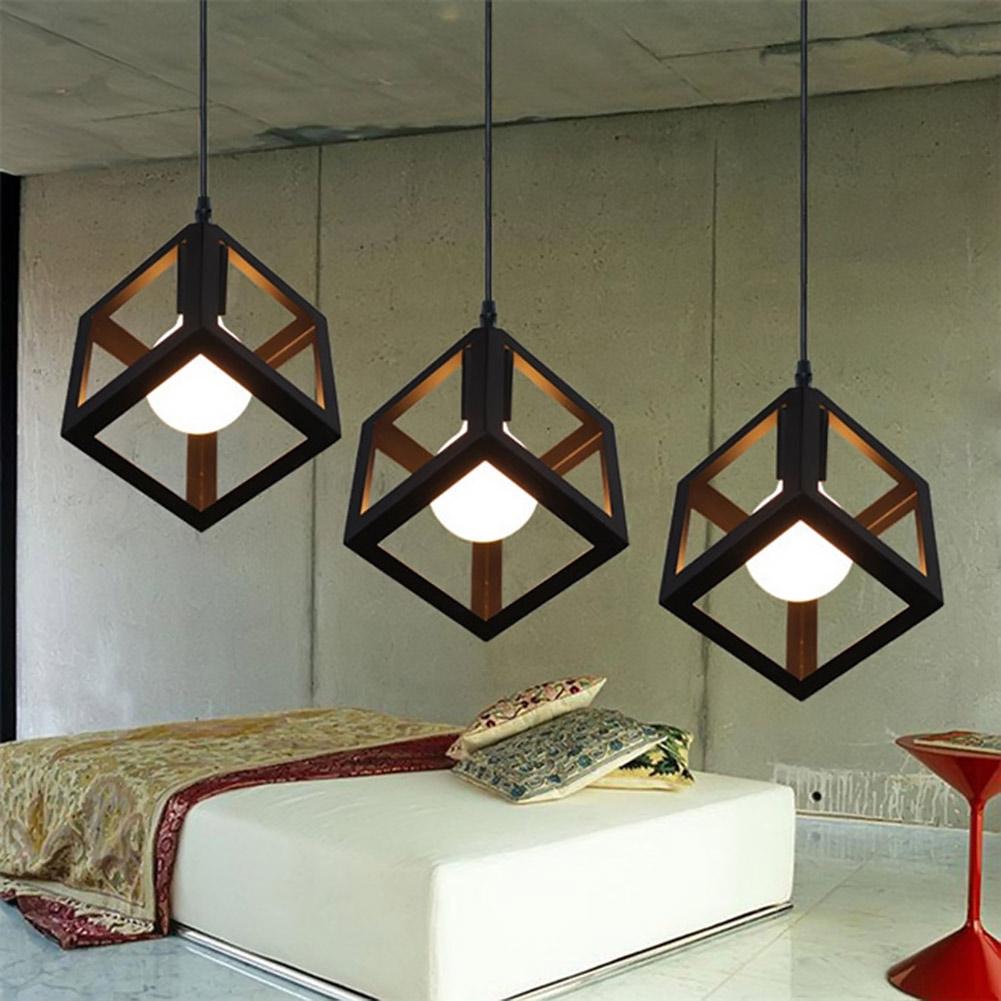 Combo bộ 3 đèn thả khối vuông trang trí nội thất, trang trí cafe kèm bóng LED