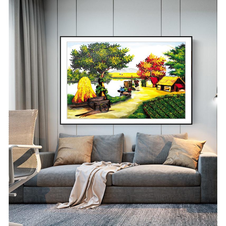 Tranh Sơn dầu Phong cảnh Làng quê Việt Nam nghệ thuật. (Bộ 1 bức), Khung hợp nhôm chống ẩm, bền, đẹp, nhiều kích thước. Phù hợp nhiều không gian sang trọng.