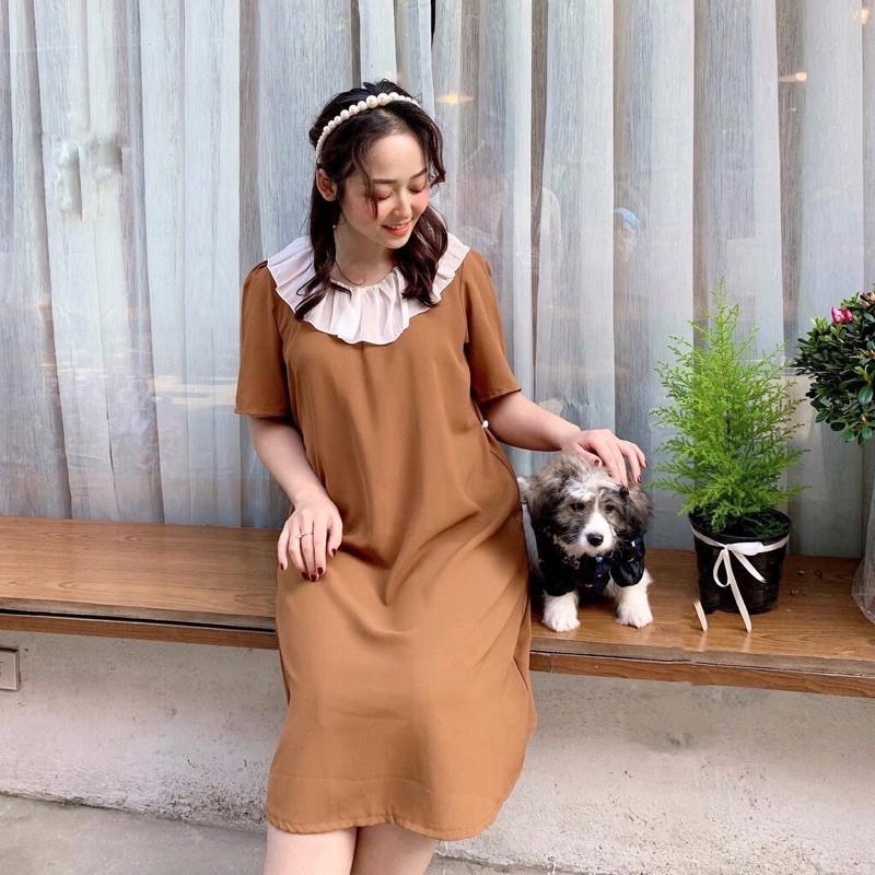 Đầm Bầu, Váy Bầu Thiết Kế V36 Dáng Suông Phối Cổ Lụa Bèo Cực Sang Chảnh và Xinh Yêu