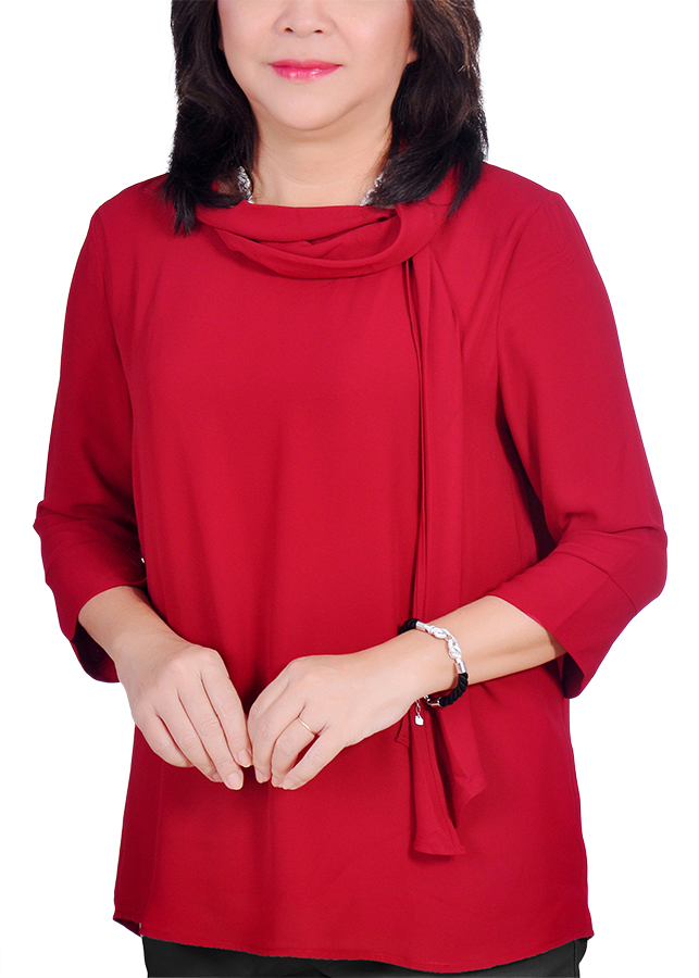 Áo Kiểu Nữ Chiffon Quàng Cổ ALX ALX43 - Đỏ