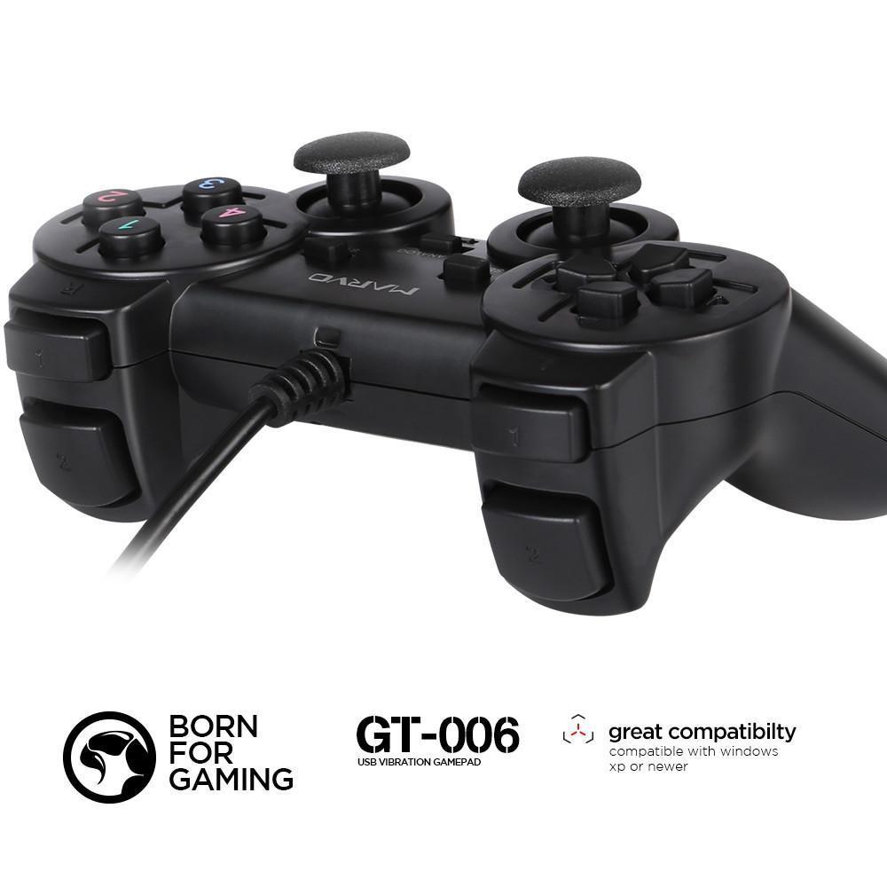 Tay cầm chơi game có dây cao cấp Marvo GT-006 (Đen) HÀNG CHÍNH HÃNG