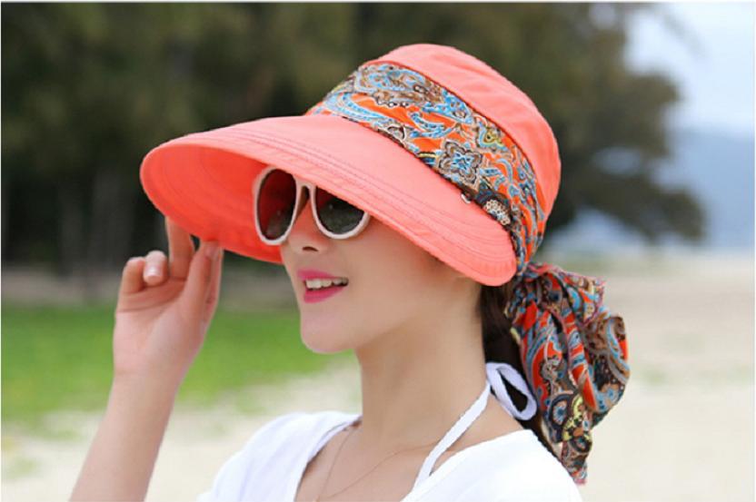Mũ chống nắng kèm khẩu trang thời trang Nón đi nắng rộng vành màu cam