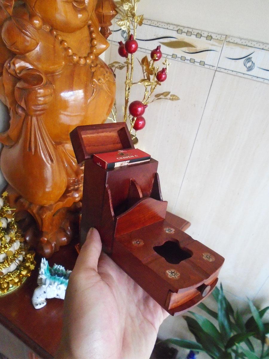 Bộ 3 món tiện ích bằng gỗ hương đỏ ,Hộp Trà trung, hộp tăm,gạt tàn COM3M03
