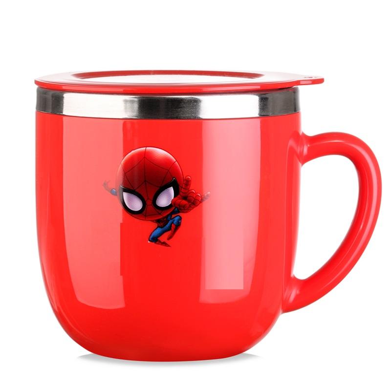 Ly inox giữ nhiệt có quai cầm 260ml hình người nhện chỉ tay màu đỏ cho trẻ em, bé trai - 57NHM1652A2 - (6x6x8cm)