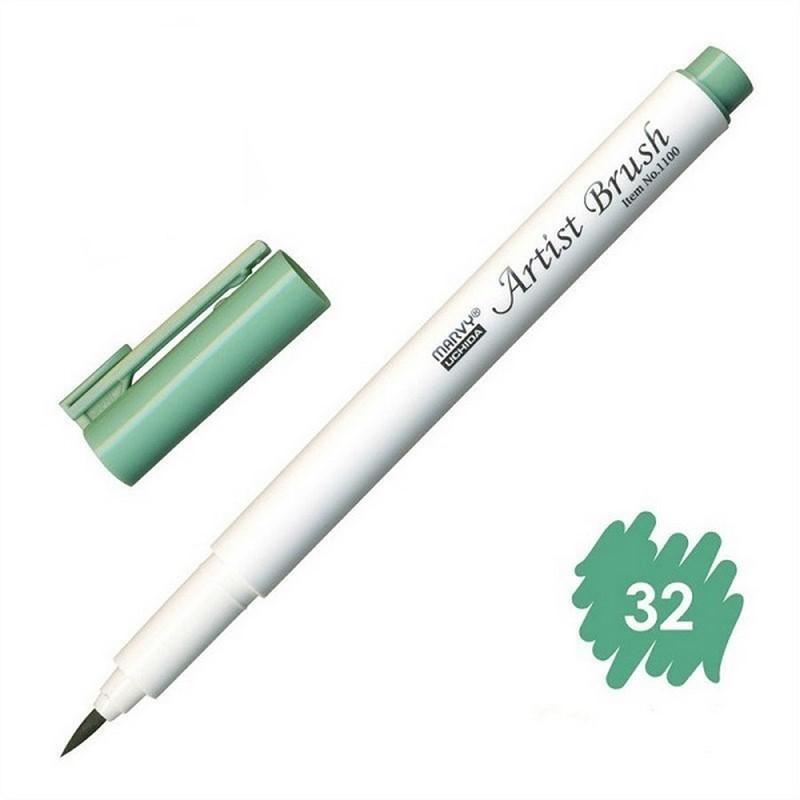 Bút lông đầu cọ viết calligraphy Marvy Artist Brush 1100 - Laurel Green (32)