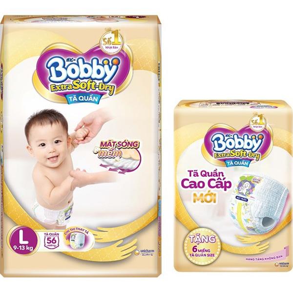 Tã Quần Bobby Extra Soft Dry L56 Tặng 6 Miếng Tã Quần size L