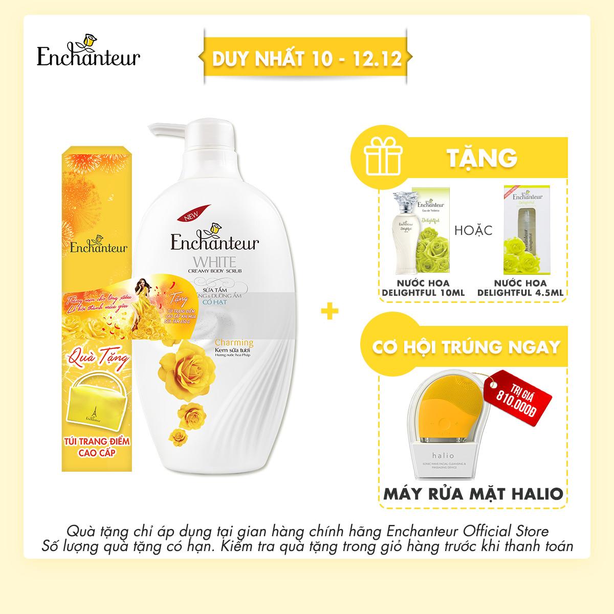 Sữa tắm trắng và dưỡng ẩm có hạt Enchanteur Sensation/Charming 650gr - Tặng túi trang điểm Enchanteur