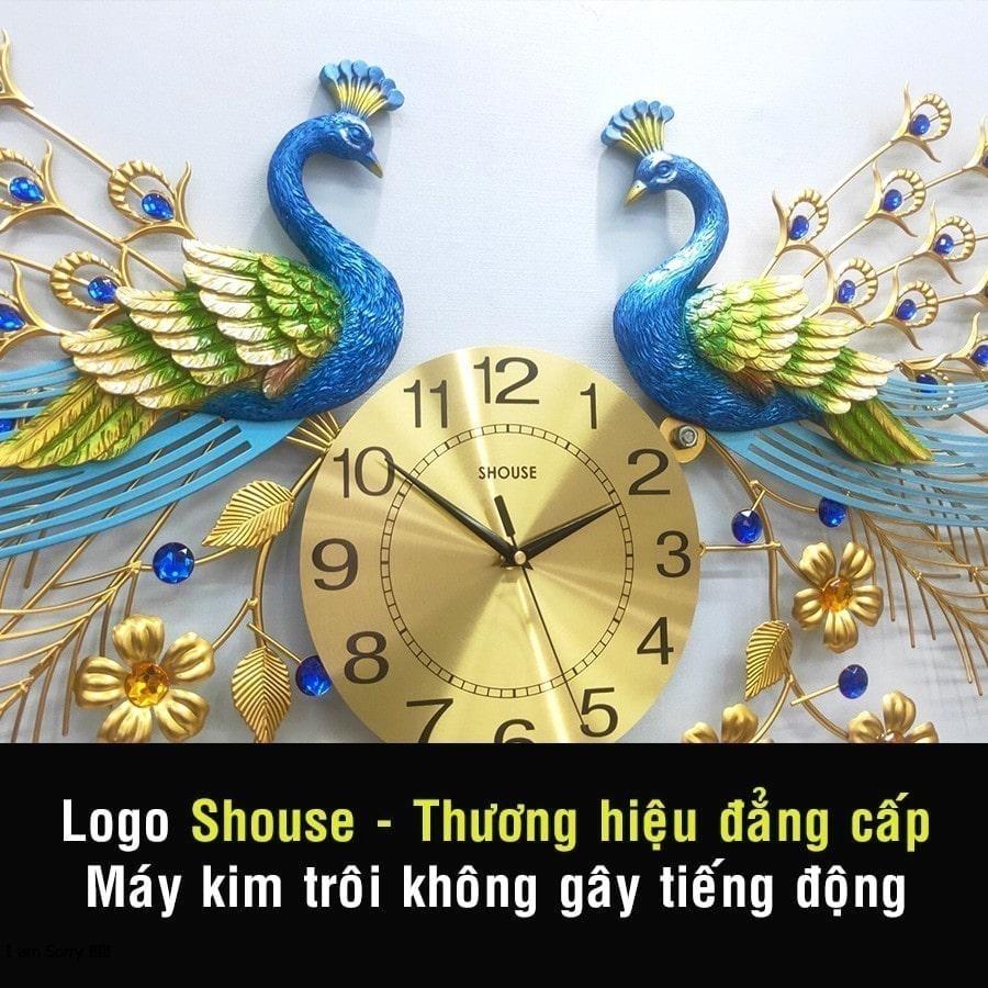 Đồng Hồ Treo Tường Con Chim Công Khổng Tước Kim Trôi A999 Nghệ Thuật Cao Cấp Shouse hiện đại 3D kích cỡ lớn đẹp treo phòng khách