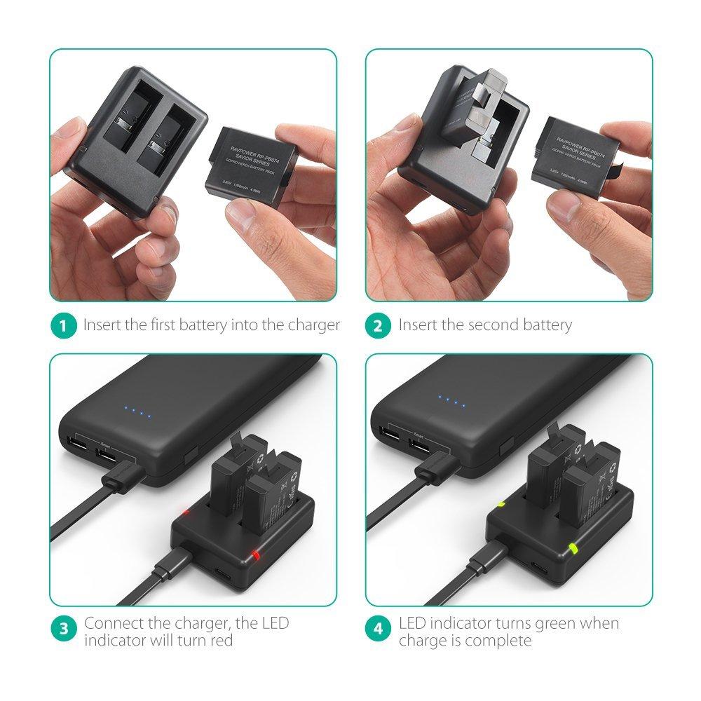 Bộ 2 pin và sạc đôi RavPower RP-PB074 cho Gopro Hero 7 Hero 6 Hero 5 Black - Hàng chính hãng