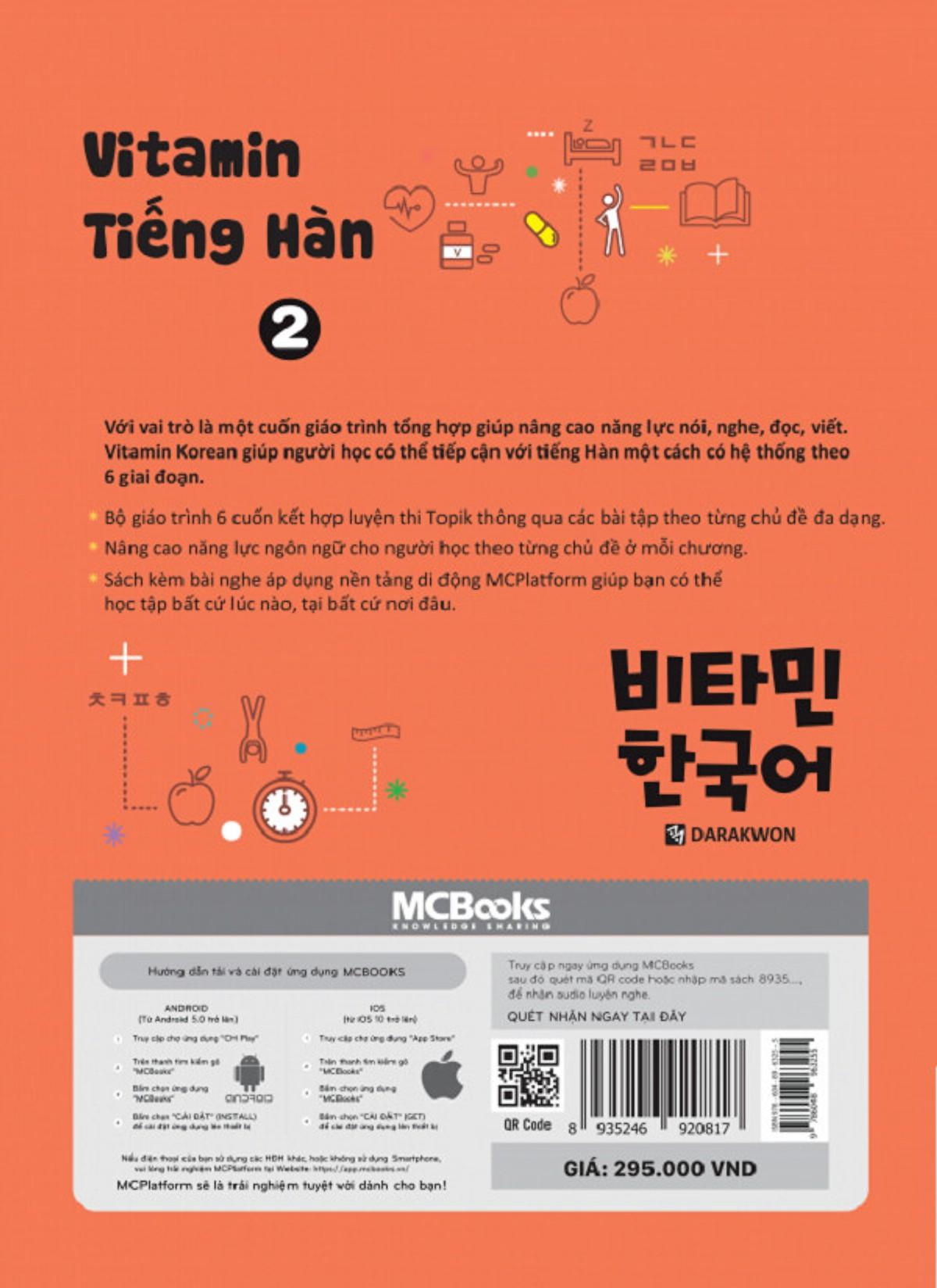 Vitamin Tiếng Hàn 2 (Học Kèm App: MCBooks Application) (Quà Tặng: Bút Animal Kute')