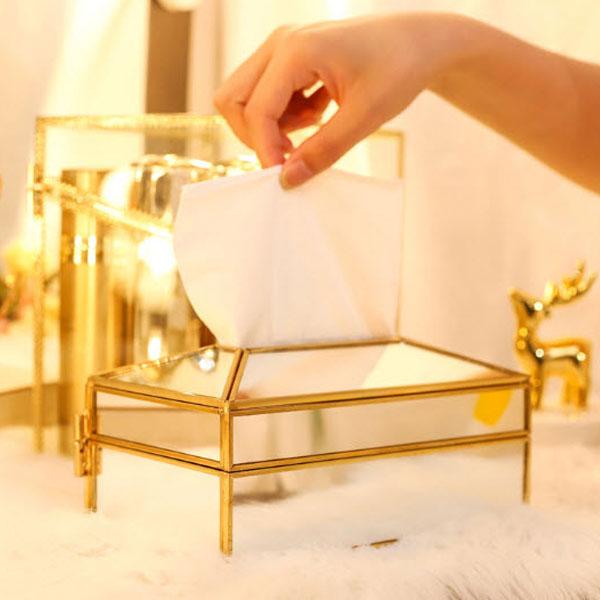 Hộp Đựng Khăn Giấy Golden Tráng Gương