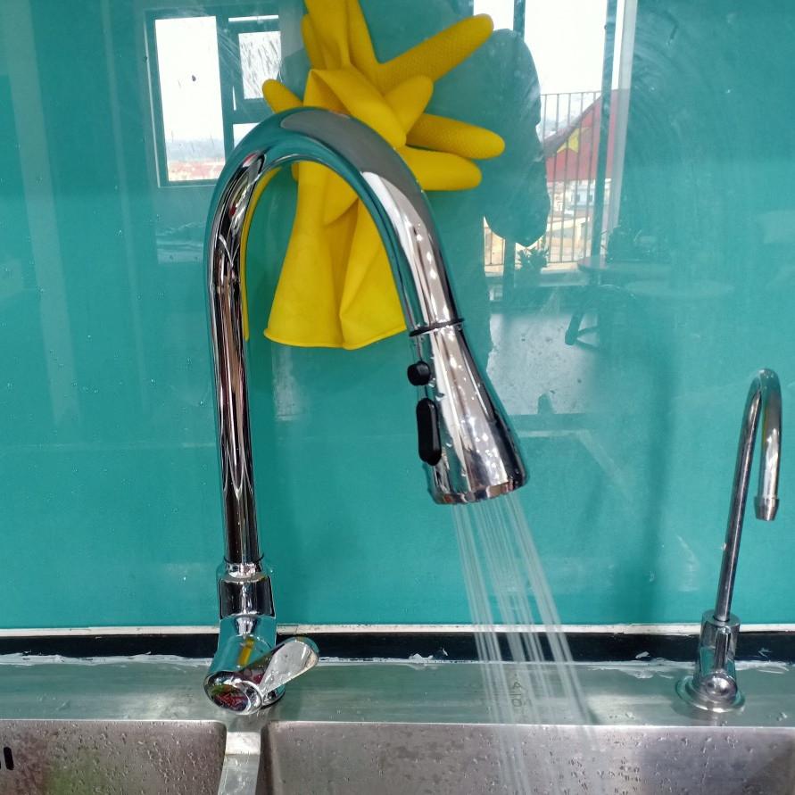Vòi rửa bát rút 3 chế độ rửa tiện lợi hoa sen phủ bóng