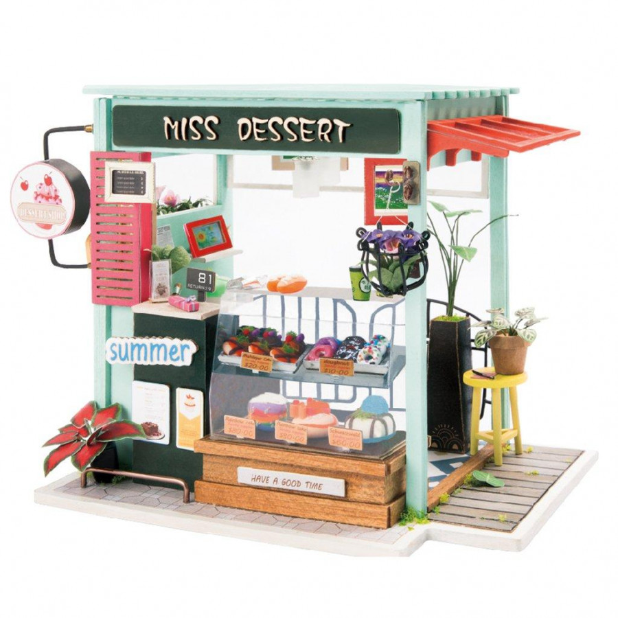 Mô hình nhà DIY Doll House Ice Cream Station DGM06 kèm Đèn LED