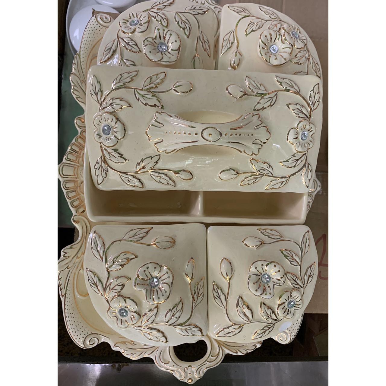 Khay đựng mứt tết bằng sứ cao cấp hình chữ nhật mang phong cách cổ điển hoàng gia