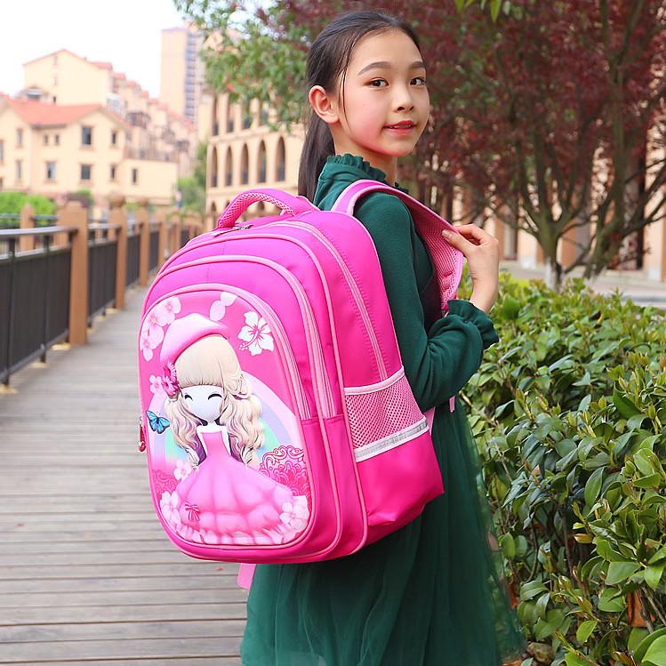 Balo bé gái đi học cấp 1 chống gù, có phản quang