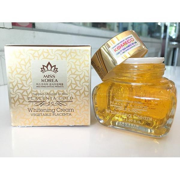 Kem dưỡng Beauskin Placenta Gold Whitening Cream 50ml + Móc khóa