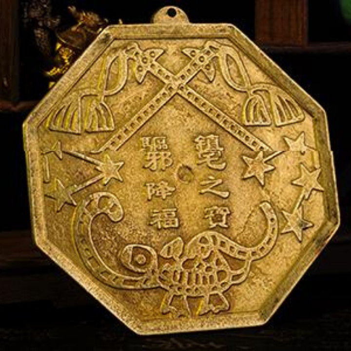 Gương bát quái đồng nguyên chất size 13,5cm