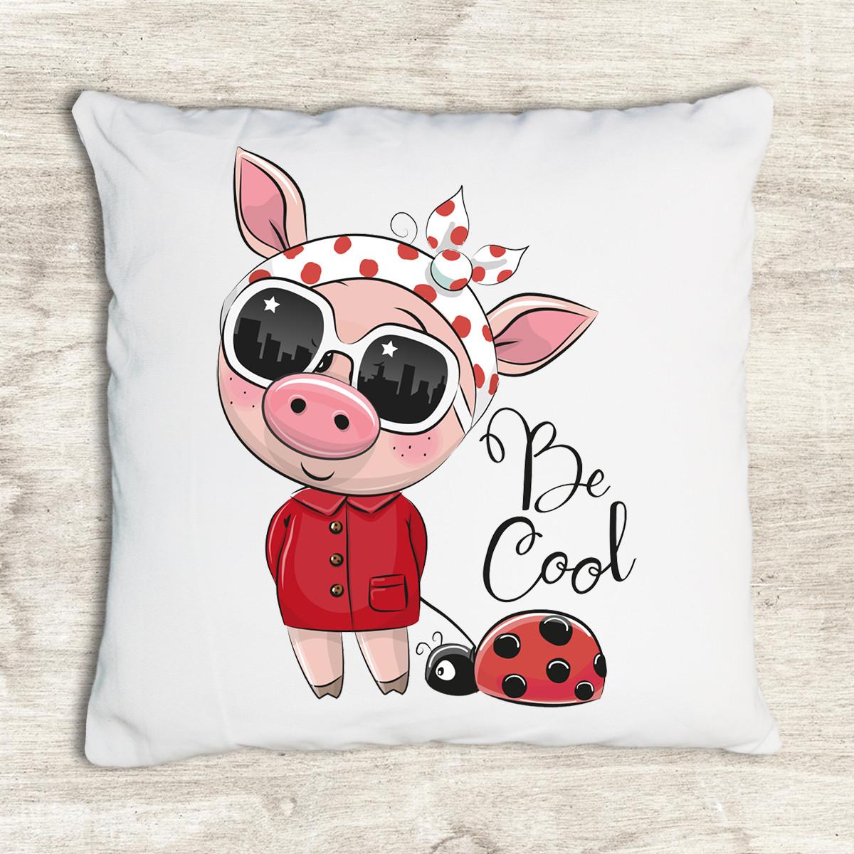 Gối tựa lưng trang trí vải canvas in hình cool cartoon cute pig sun G316