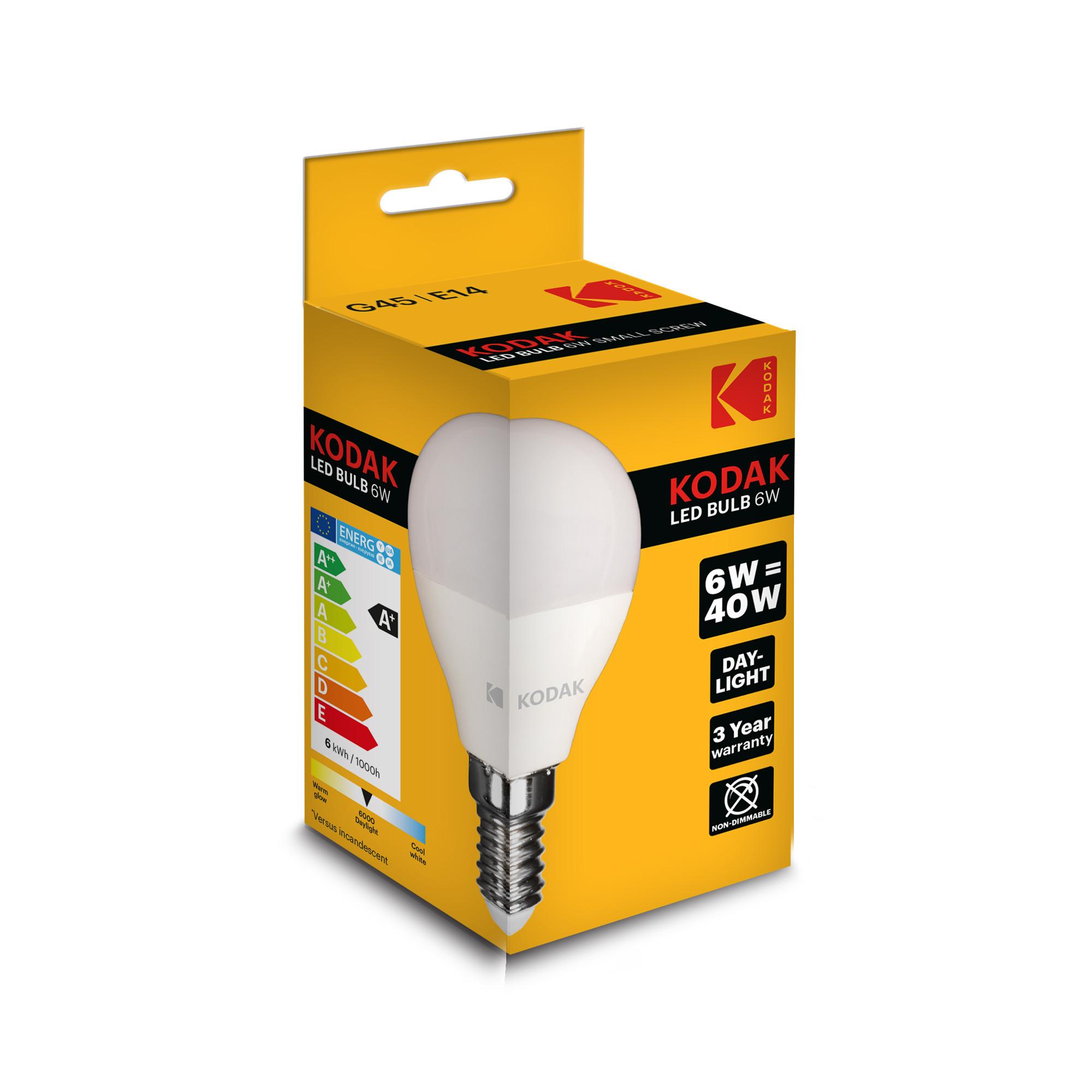 Bóng Đèn Kodak Led Bulb 6W/40W G45 -E14  Ánh Sáng Trắng Ban Ngày UBL IL0319