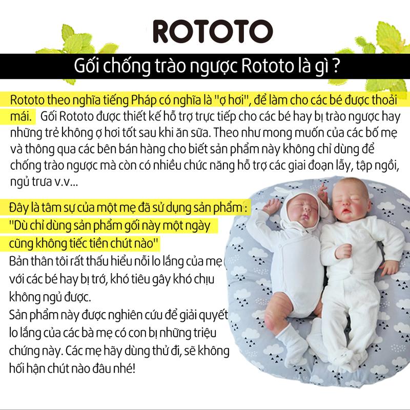 Gối chống trào ngược Rototo bebe nhập khẩu chất liệu cotton mềm mại khắc phục tình trạng trào ngược sơ sinh