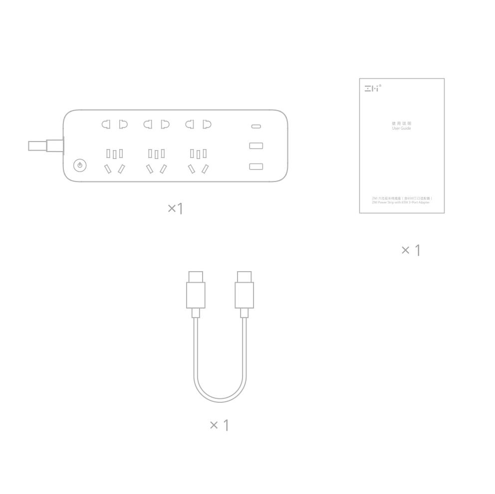 Ổ cắm ZMI CXP01 65W tích hợp 3 cổng USB
