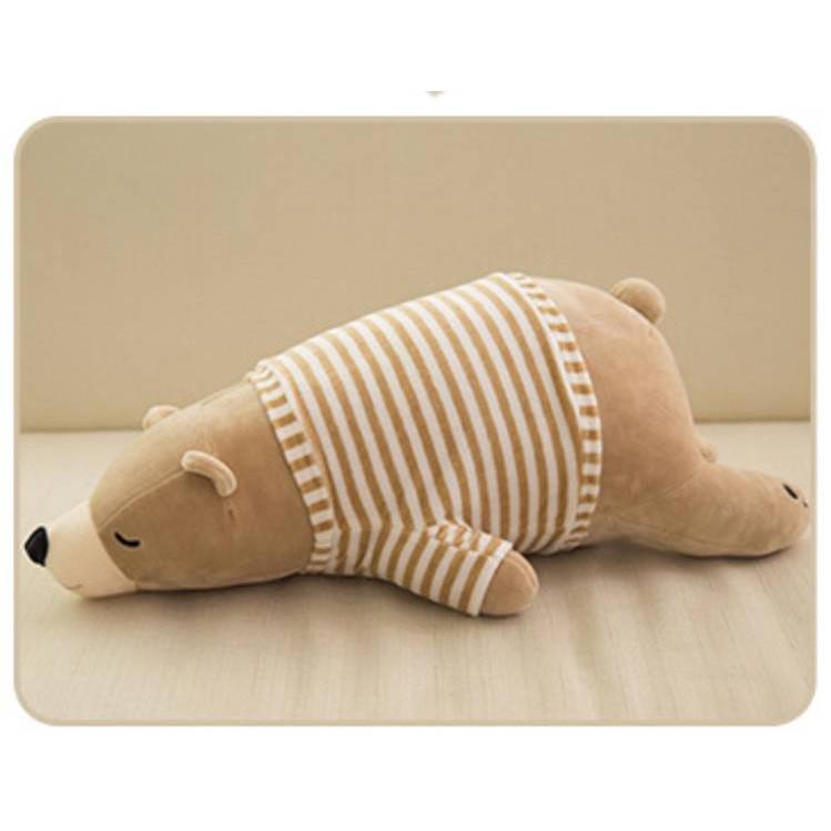 Gấu bông Gấu Bắc Cực nằm nâu mặc áo kẻ sọc cao cấp 90cm