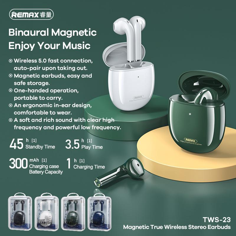 (Hàng chính hãng) Tai nghe Bluetooth Remax TWS-23 Bluetooth 5.0, phạm vi kết nối 10m, âm bass cực hay