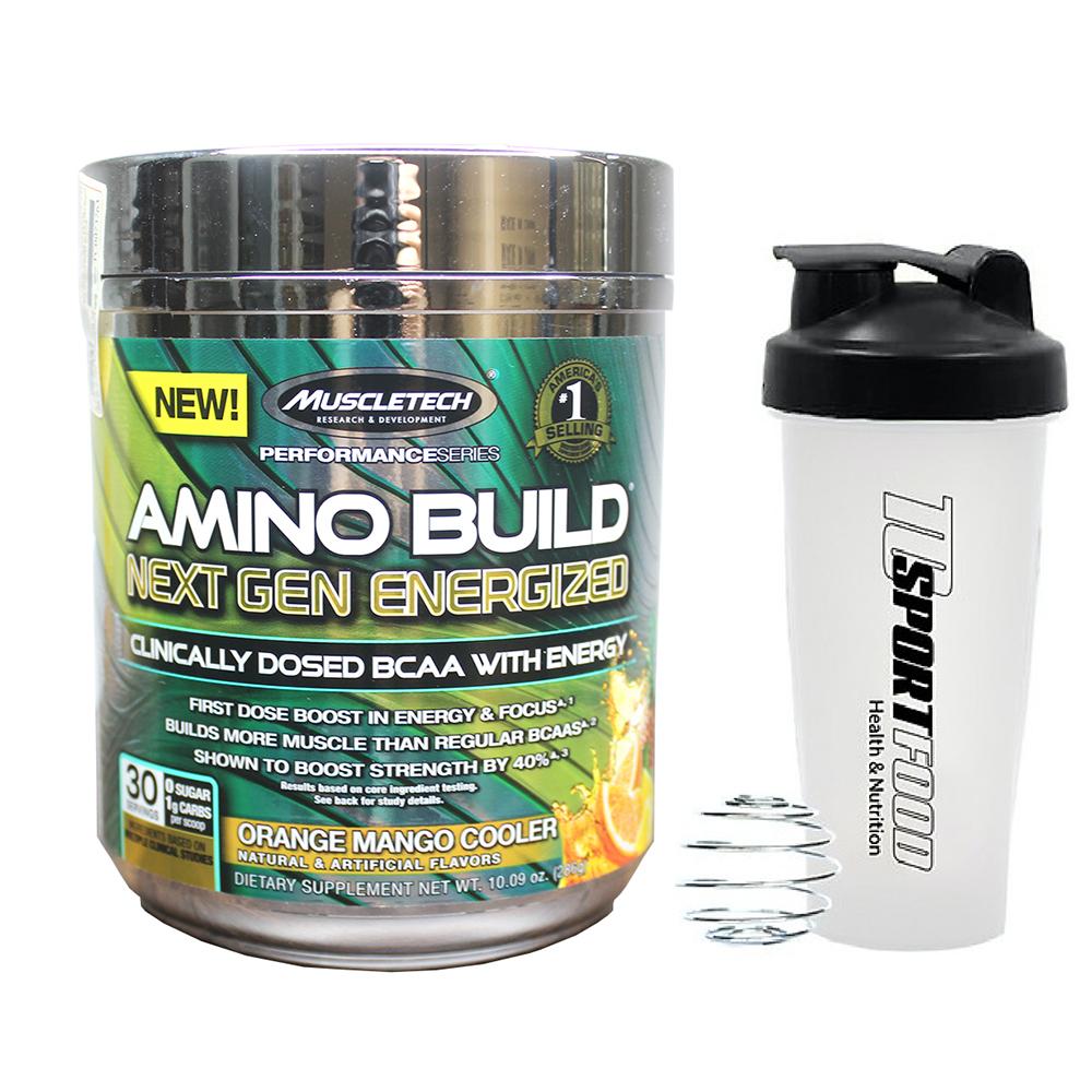 Combo BCAA Amino Build Next gen hương Orange Mango Cooler (Cam Xoài) của Muscle Tech hộp 30 lần dùng hỗ trợ phục hồi cơ, chống dị hóa cơ, tăng sức bền sức mạnh vượt trội, đốt mỡ, giảm cân, giảm mỡ bụng mạnh mẽ cho người tập thể thao & Bình lắc 600ml (Mẫu ngẫu nhiên)