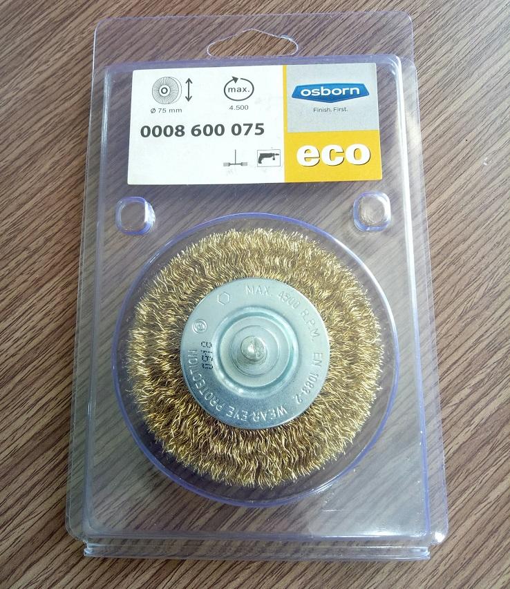 Bộ 5pcs Bánh cước Osborn D75, dày 10, chuôi 6, sợi thép mạ đồng 0.3, sợi chổi dài 15mm- 0008600075