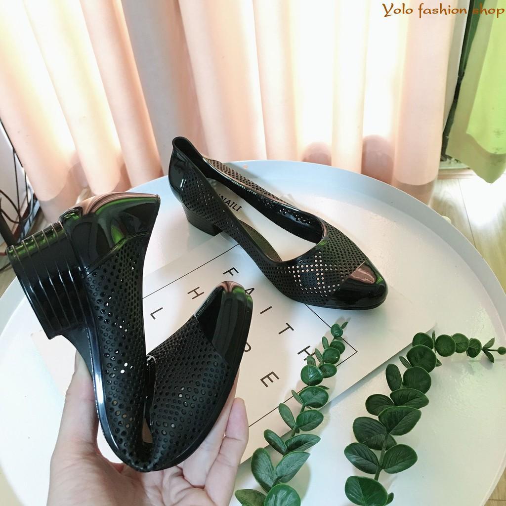 Giày nhựa đi mưa đế 3cm thoáng khí siêu mềm êm chân- Hàng QC cao cấp GN5