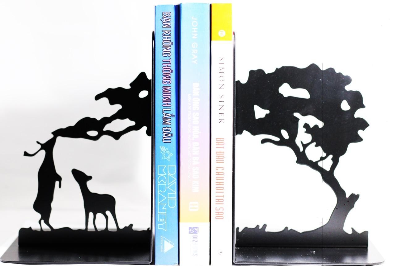Giá Chặn Sách Kim Loại Sáng Tạo Cao Cấp - Đôi Hươu (Bộ 2 Cái)