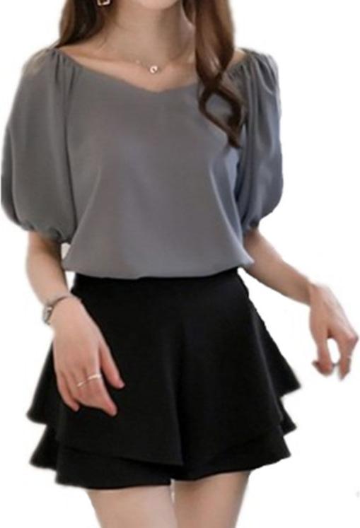 Áo kiểu nữ phối chun tay, vai cách điệu D21