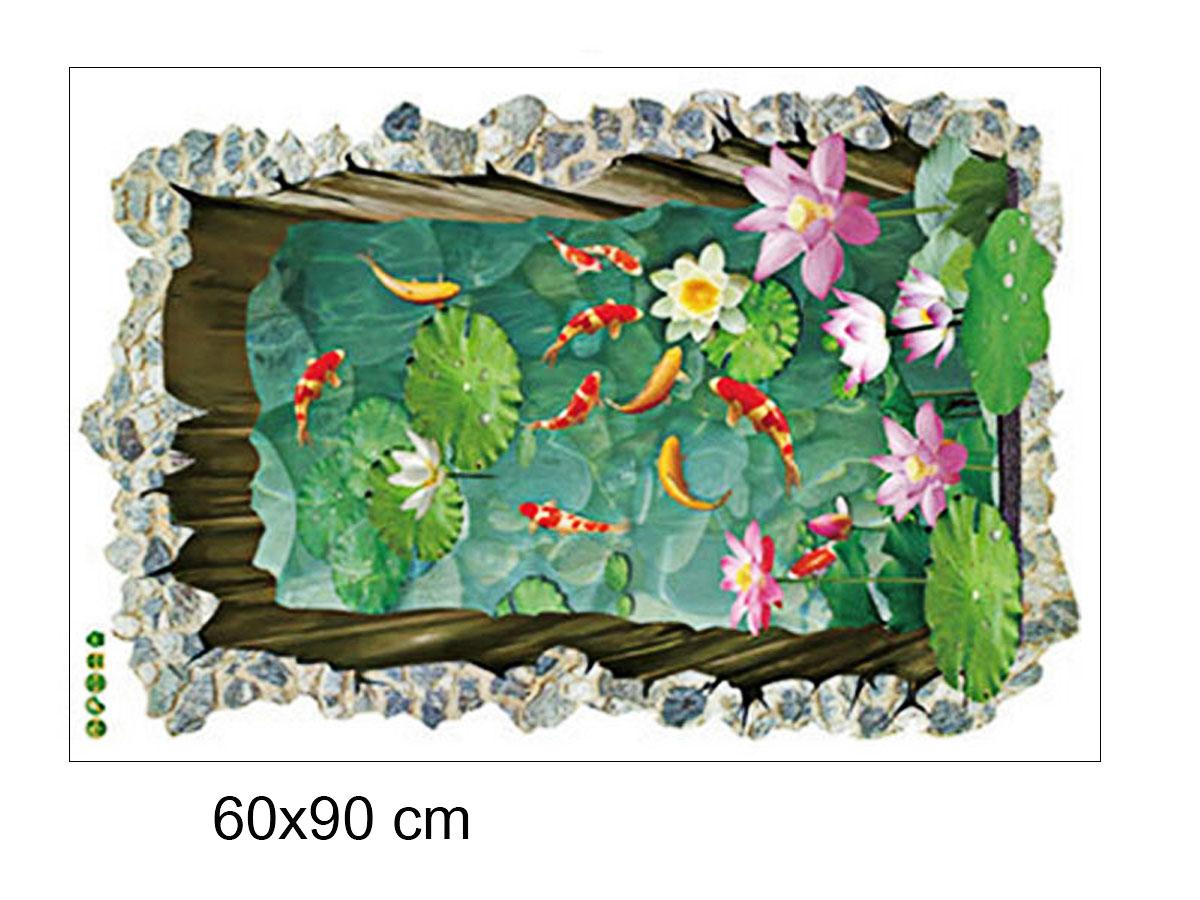 Decal dán tường phong cảnh hồ cá thành cao sk9303