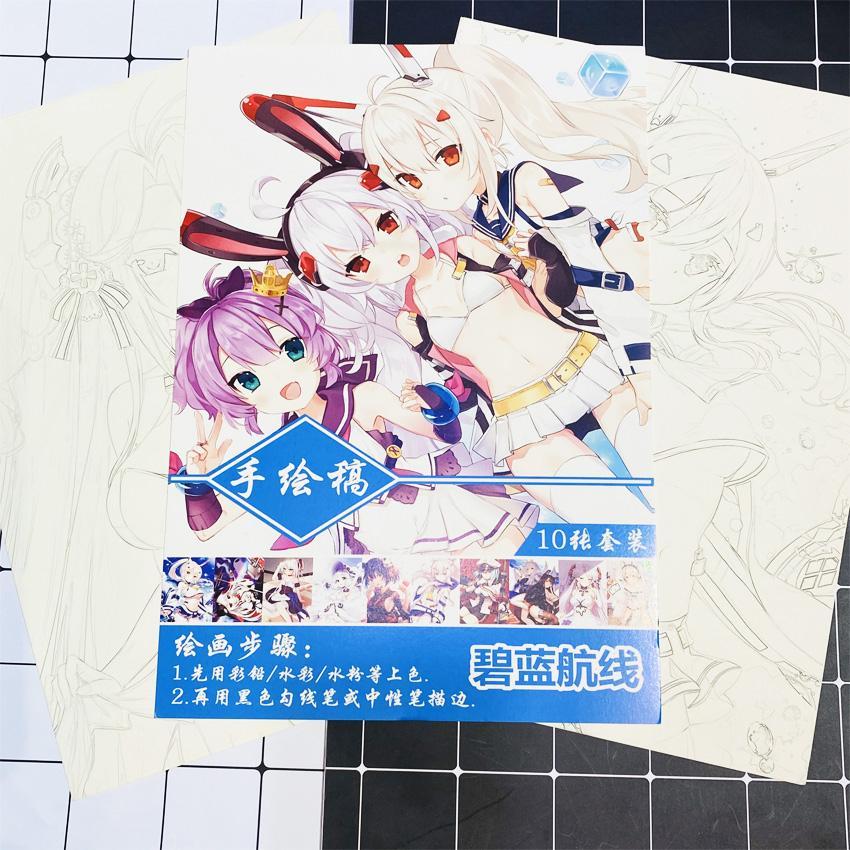 Tranh tô màu Azur Lane tập bản thảo phác họa anime manga chibi