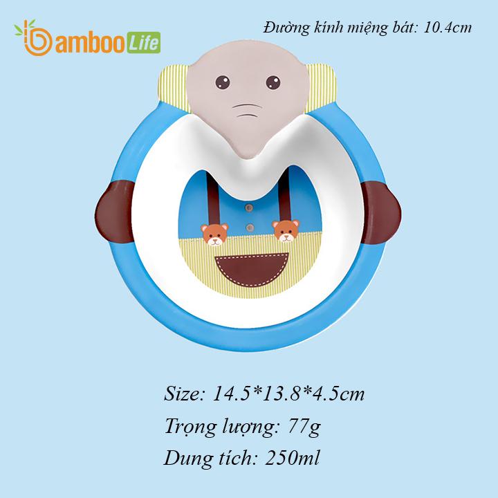 Bộ chén bát ăn dặm từ sợi tre Bamboo Life cho bé BL017 hàng chính hãng Đồ dùng ăn dặm cho bé