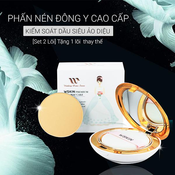 Phấn Nén Đông Y Cao Cấp Kiểm Soát Dầu WSKIN Premium Two-way Cake (Tặng 1 lõi sơ cua)