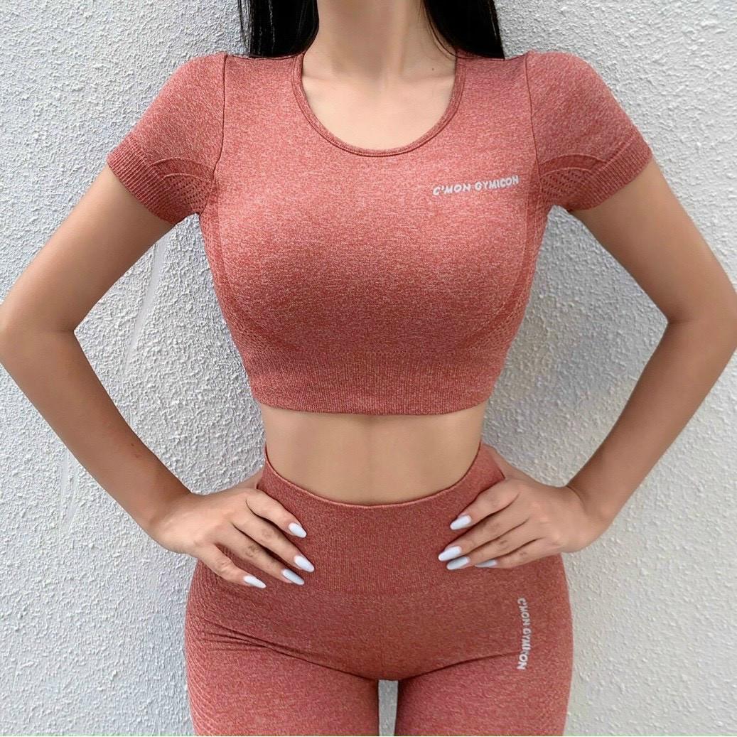 Set Bộ Quần Dài Áo Bra Cmon Chất Dệt có sẵn đệm  (Đồ Tập Gym-Yoga Nữ)