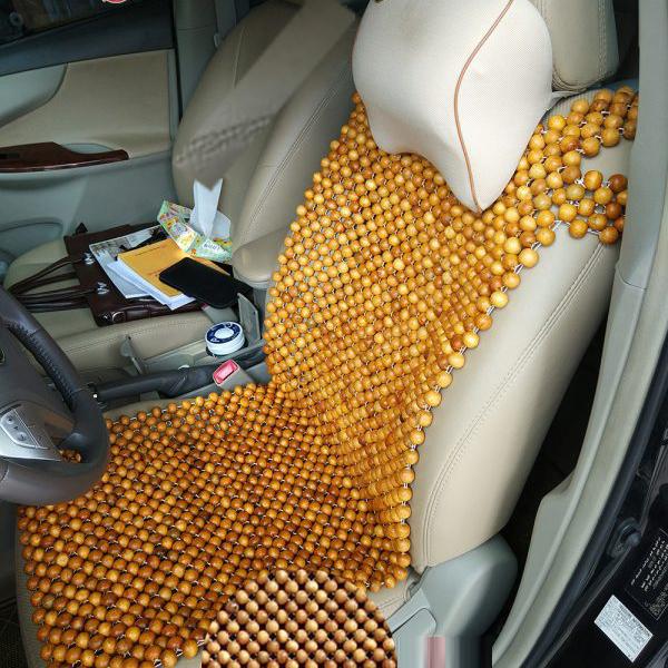 Lót Ghế Hạt Gỗ Ô TÔ Tựa lưng massage ô tô 100% gỗ tự nhiên PƠ MU cao cấp