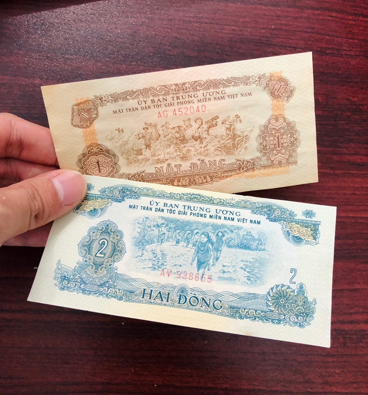 Combo 2 tờ tiền xưa Việt Nam 1 đồng và 2 đồng sưu tầm