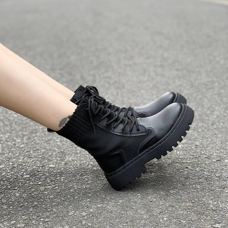 Giày Boot Nữ Cổ Len 6560