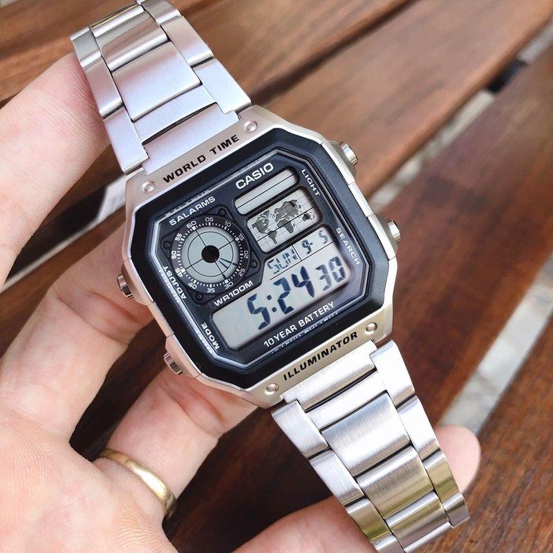 Đồng hồ nam Casio AE-1200WHD-1AVDF tặng kèm dây da bò