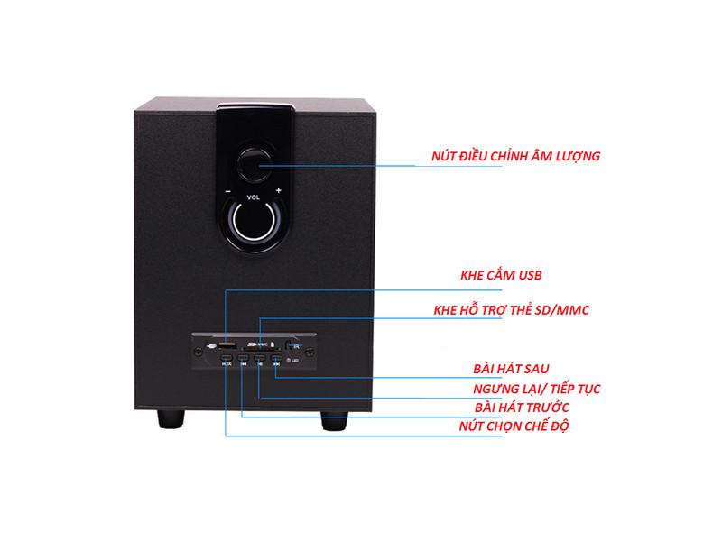 Loa Bluetooth  điện thoại tivi máy tính laptop gắn usb thẻ nhớ PKCB 3900 bass ấm 3 trong 1 cắm điện trục tiếp 1 bộ 3 chiếc loa  Màu Đen