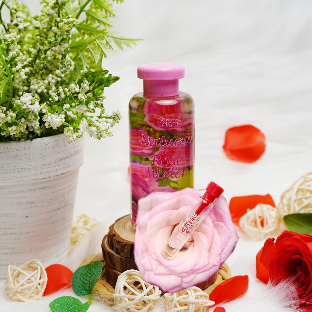 COMBO CẶP ĐÔI Nước hoa hồng Bulgaria thương hiệu Lema 100ml nắp đổ và nước hoa tinh dầu hoa hồng 2.1ml