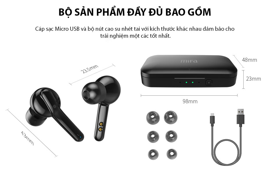 Tai Nghe True Wireless MIFA X3 Smart Touch Bluetooth V5.0 - Hàng Chính Hãng