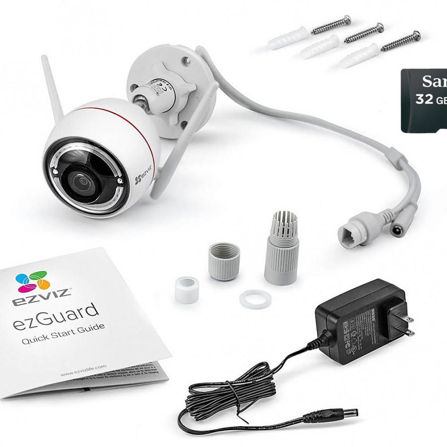 Camera IP wifi Ezviz Cs-CV310 (C3W) báo động kèm thẻ nhớ 32GB Sandisk - Hàng chính hãng
