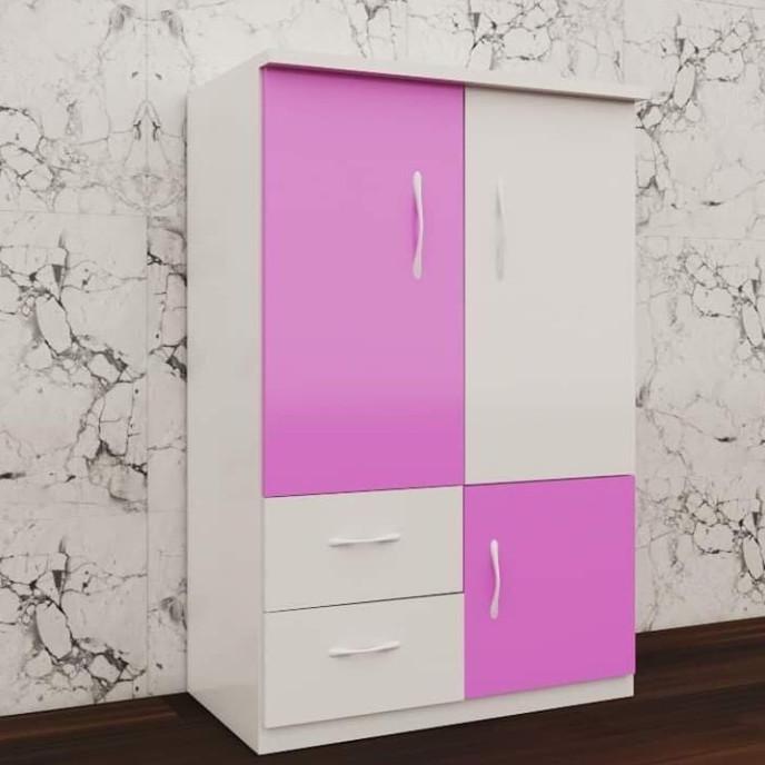 Tủ nhựa đài loan 2 cánh 2 ngăn kéo 1 cánh mở màu hồng trắng (rộng 85cm, cao 1m15, sâu 45cm)