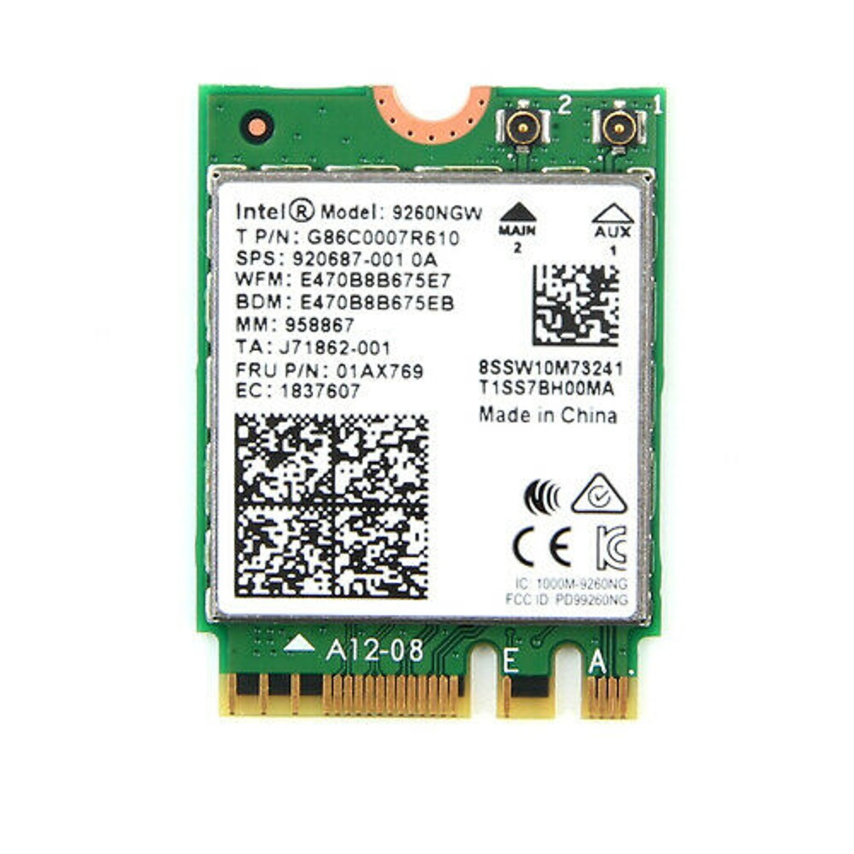 Card WIFI Bluetooth cho PC sử dụng chip Intel AC 9260 khe PCI cho tích hợp Bluetooth 5.0 tốc độ 1730M có tản nhiệt